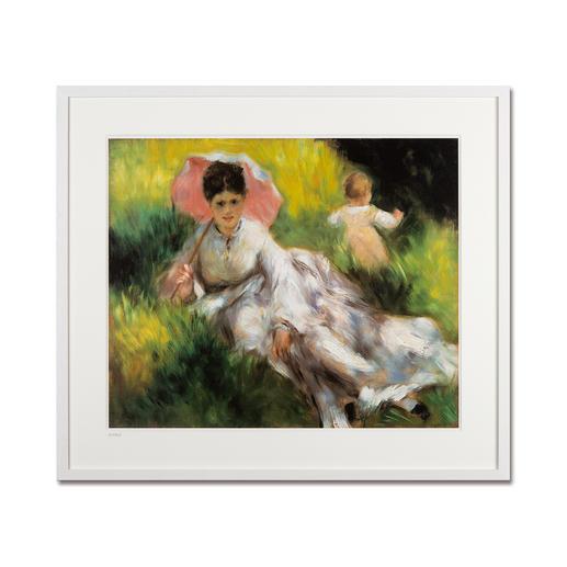 """Pierre-Auguste Renoir: """"Dame mit Sonnenschirm"""" (1874–76) - Pierre-Auguste Renoir """"Dame mit Sonnenschirm"""" (1874-76) als High-End Prints™. Endlich eine Qualität, die dem grossen Meisterwerk tatsächlich gerecht wird."""