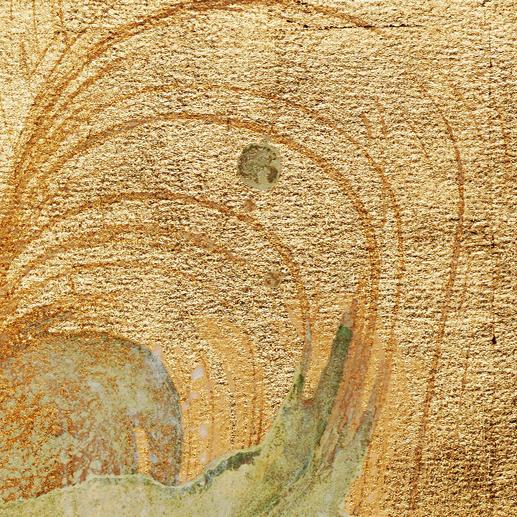 Jedes Werk ist zu 100 % von Hand gemalt und mit Echtgold-Partikeln versetzt.