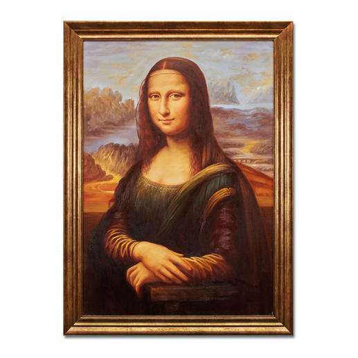 Hui Liu malt Leonardo da Vinci – Mona Lisa - Die perfekte Kunstkopie – 100 % von Hand in Öl gemalt. Masse: gerahmt 65 x 89 cm