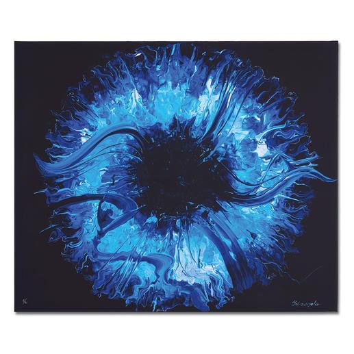 Yelizavyeta – Blue Space - Erste Edition der Künstlerin Yelizavyeta – von Hand übermalt. Faszinierende Dreidimensionalität. 40 Exemplare. Exklusiv bei Pro-Idee. Masse:  120 x 100 cm