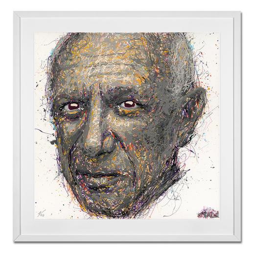 STALE – Think different/Picasso - STALE: Senkrechtstarter dank weltweit einzigartiger Technik. Bemerkenswertes Picasso-Portrait im Action Painting erschaffen. 40 Exemplare. Masse: gerahmt 72 x 72 cm