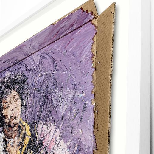Das Werk wird auf einem 700-g-Karton lithografiert und schwebend gerahmt.