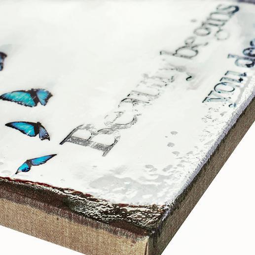 Jede Leinwand wird mit hochglänzendem Epoxidharz von Künstlerhand haptisch übermalt.