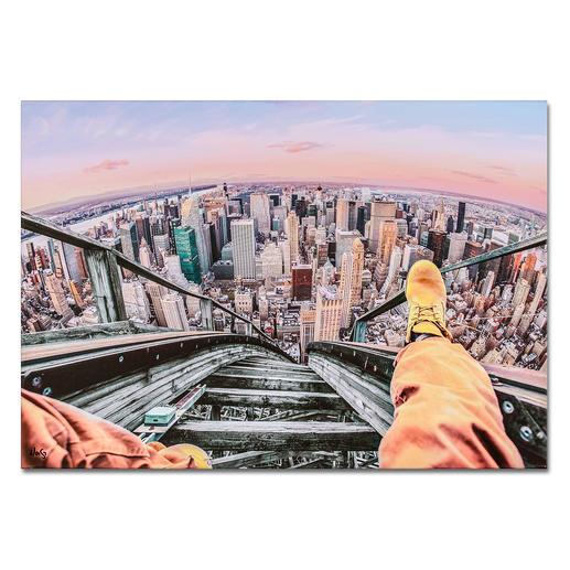 Robert Jahns – Rollercoaster above New York Robert Jahns:Einer der populärsten Instagram-Stars. 40.000 Likes über Nacht. Rollercoaster above New York –  jetzt als Leinwand-Edition exklusiv bei Pro-Idee. Masse: 100 x 70 cm