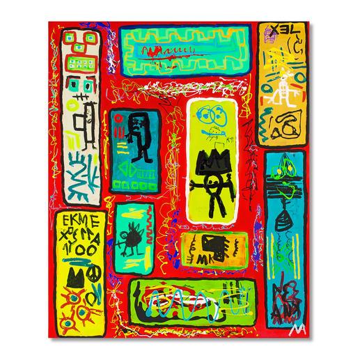 Mikail Akar – Ryra - Erst 7 Jahre alt – schon 4-stellige Verkaufspreise. Deutschlands jüngster Abstraktkünstler Mikail Akar: Handübermalte Edition seiner gefragten Werke im Basquiat-Stil. Masse: 90 x 110 cm