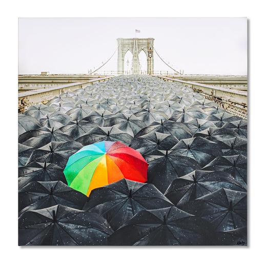 Robert Jahns – Rainbow Umbrella Robert Jahns:Einer der populärsten Instagram-Stars. 40.000 Likes! Rainbow Umbrella – jetzt als Leinwand-Edition. Exklusiv bei Pro-Idee. Masse: 100 x 100 cm
