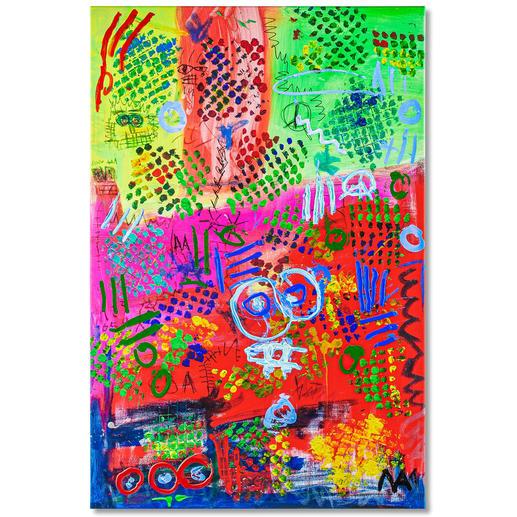 Mikail Akar – Mika City Mit 7 Jahren schon 5-stellige Verkaufspreise. Handübermalte Edition von Deutschlands jüngstem Abstraktkünstler Mikail Akar. Masse: 80 x 120 cm