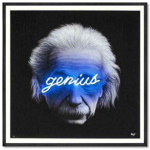 Shyglo – Genius Einzigartig: Fotorealistische Malerei, gepaart mit Street-Art. Shyglos exklusive Pro-Idee Edition. 30 Exemplare. Masse gerahmt: 90 x 90 cm