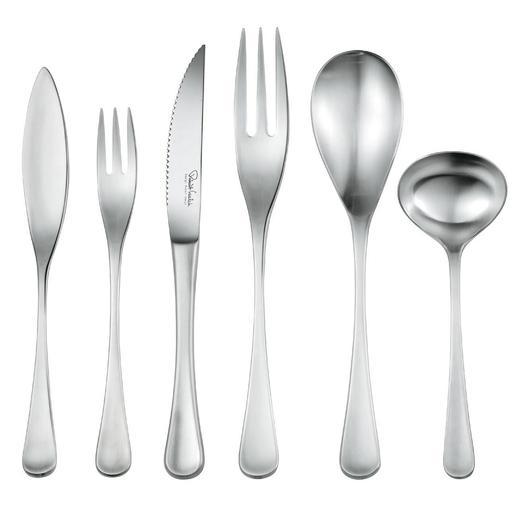 """Auf Wunsch ergänzen Sie Ihr """"RW II""""-Design-Besteck um Fischmesser, Fischgabel, Steakmesser, Vorlegegabel, Vorlegelöffel und Sossenlöffel."""