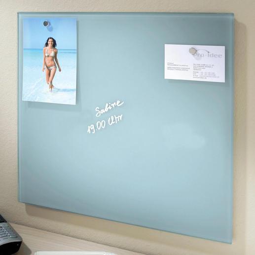 Glas-Magnettafel - Endlich ein Memo-Board in coolem Design. Beschreibbare Glastafel und magnetischer Zettel-Halter zugleich.
