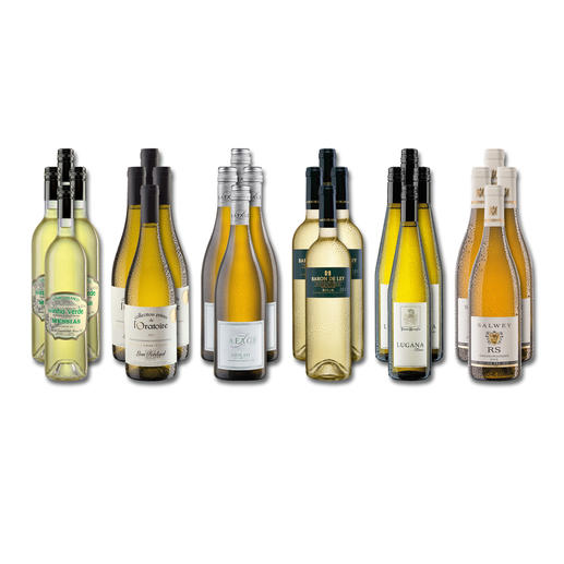 """Weinsammlung """"Die kleine Weisswein-Sammlung Winter 2018"""", 24 Flaschen Wenn Sie einen kleinen, gut gewählten Weinvorrat anlegen möchten, ist dies jetzt besonders leicht."""