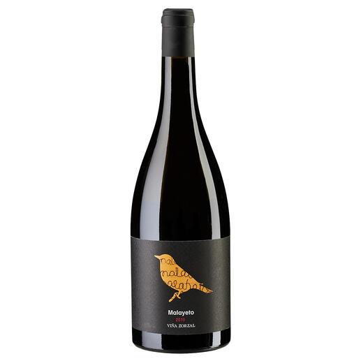 """Malayeto 2019, Viña Zorzal, Navarra DOP, Spanien """"Grosse Finesse. Unglaublich elegant. Wirklich beeindruckend. 94 Punkte."""" (Robert Parker, The Wine Advocate 248, 30.04.2020)."""