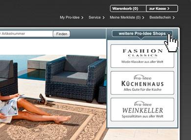 Screenshot Wechsel Shop zu Shop
