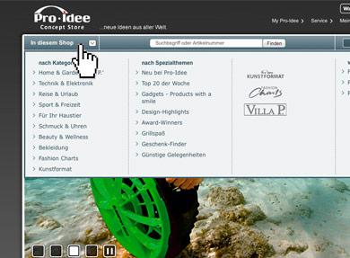 Screenshot Alle Kategorien in der Übersicht